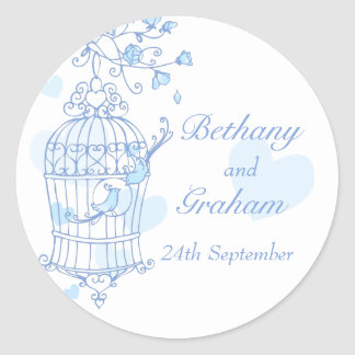 Blue birds open cage wedding sticker