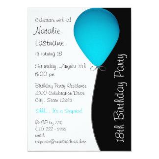 Blue Birthday Balloon 11 Cm X 16 Cm Invitation Card
