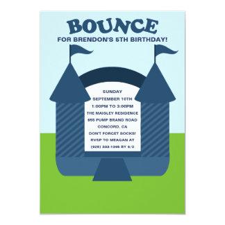 Blue Birthday Bounce Bouncy House Birthday Party Card