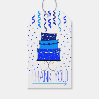 Blue Birthday Cake - Thank You Gift Gift Tags