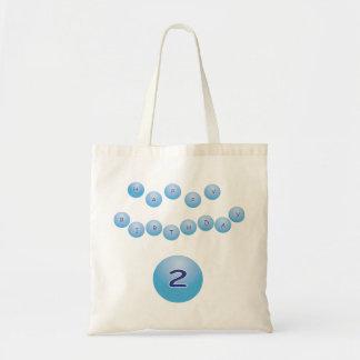 Blue Birthday for Boy Age 2 Budget Tote Bag