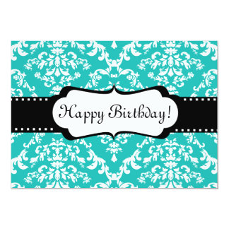 Blue Birthday Invitation Cute Damask Sweet 16