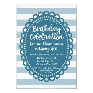 Blue Birthday Invitation Cute Wide Stripe Adult