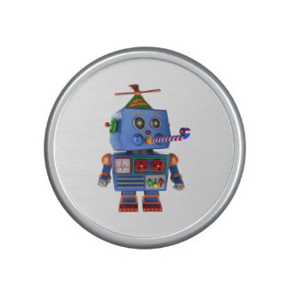 Blue birthday party toy robot bluetooth speaker