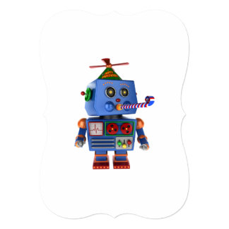 Blue birthday party toy robot card