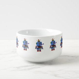 Blue birthday party toy robot soup mug