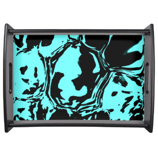Blue Black Abstract Composition Serving Tray