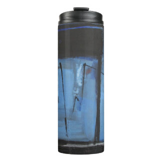 Blue Black Abstract Thermal Tumbler