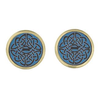 Blue Black and Gold Celtic Knot Cufflinks Gold Finish Cufflinks