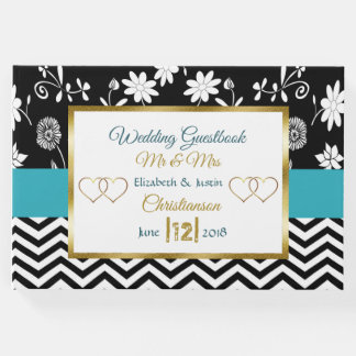 Blue, Black and  Gold Heart Wedding Book