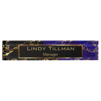 Blue, Black and Gold Marble Design Nameplate