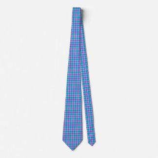 Blue, Black and Pink Plaid Tie