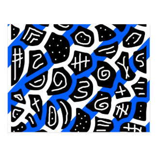 Blue, black and white playful pattern postcard