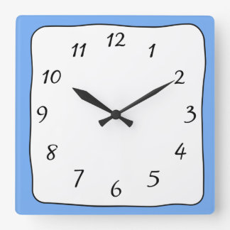 Blue, Black and White Square Clock