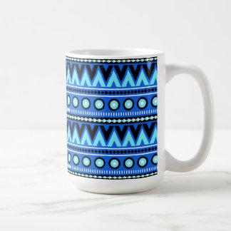 Blue Black Aztec Modern Stylish Trendy Coffee Mug