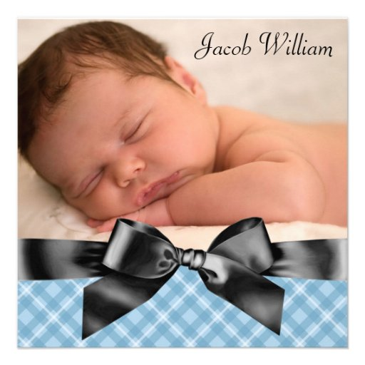 Blue Black Baby Boy Photo Birth Announcement