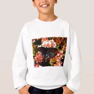 Blue Black Butterfly on pink flowers Sweatshirt