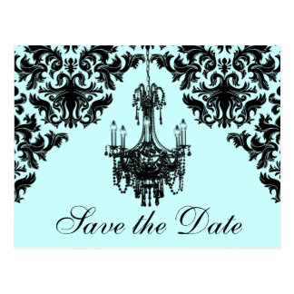 Blue, Black Chandelier Damask Save the Date Card