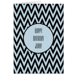 Blue Black Chevron Birthday Card