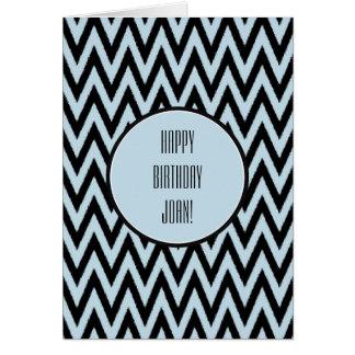 Blue Black Chevron Birthday Greeting Card