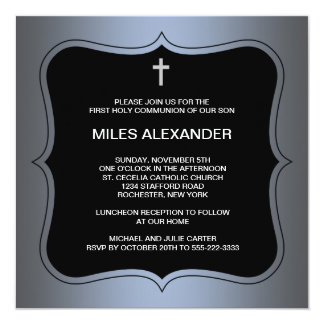Blue Black Cross Boys First Communion Personalized Announcements