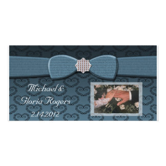 Blue & Black Damask Hearts Bow Bling Photo Card Template