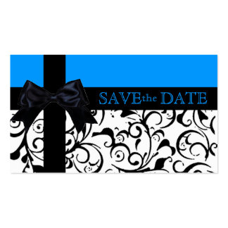 Blue black damask save the date business cards