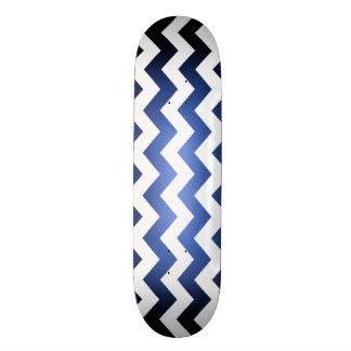 Blue/Black Fade White ZigZag Skateboard Deck