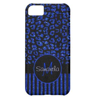 Blue & Black Faux Glitter Print Leopard & Stripes iPhone 5C Case