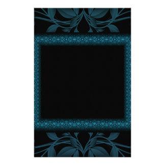 Blue & Black Floral & Framed Monogram Stationery Paper
