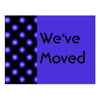 blue black floral We ve Moved Postcards
