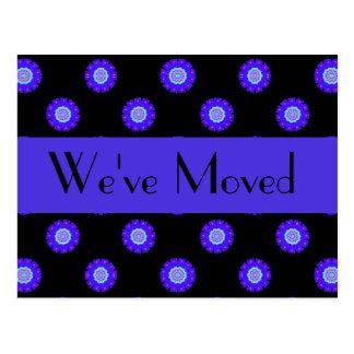 blue black floral We ve Moved Post Cards