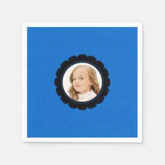 Blue Black Flower Replace Image Disposable Napkin