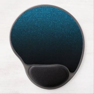 Blue & Black Glitter Modern Trendy Glam Glamour Gel Mouse Pad