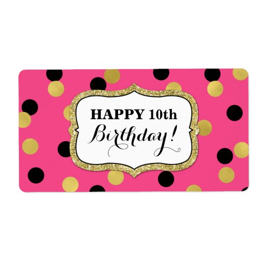 Blue Black Gold Confetti Birthday Labels