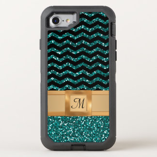 Blue Black & Gold Glitter Chevron Pattern Monogram OtterBox Defender iPhone 8/7 Case