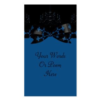 Blue & Black Gothic Chandelier & Cross Wedding Business Card