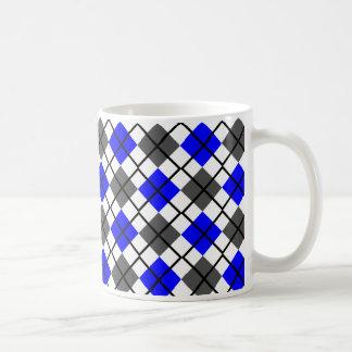 Blue, Black, Grey on White Argyle Print Mug