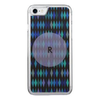 Blue Black Harlequin Pattern Carved iPhone 7 Case