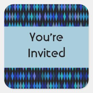 Blue black harlequin pattern  Party Invites Square Sticker