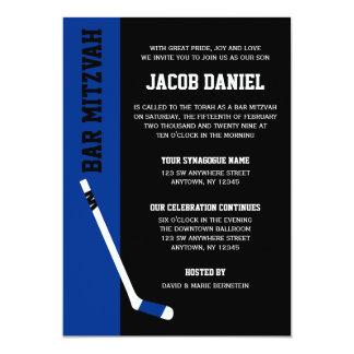 Blue Black Hockey Bar Mitzvah Invitations
