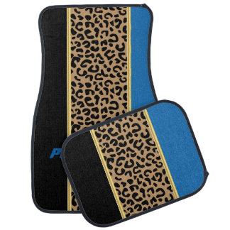 Blue & Black Leopard Animal Print | DIY Name Car Mat