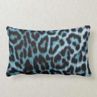 Blue Black Leopard Animal Print Lumbar Pillow