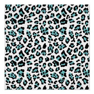 Blue Black Leopard Animal Print Pattern