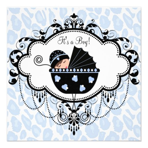 Blue Black Leopard Baby Boy Shower Invitations