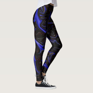 Blue Black Liquefied Outer Space Pattern, Leggings