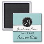 Blue Black Monogram Save the Date Magnet