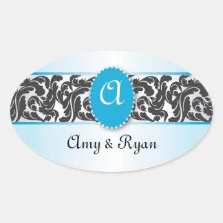 Blue & Black Monogram & Vintage Swirls wedding Oval Sticker