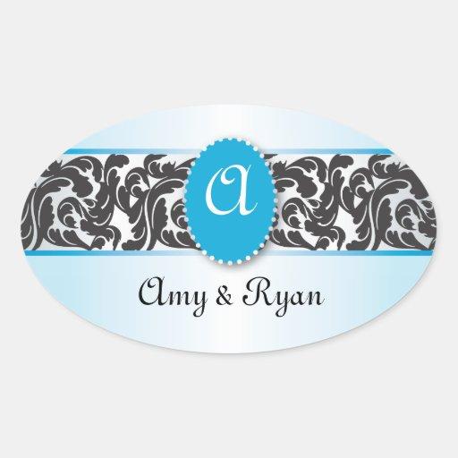 Blue & Black Monogram & Vintage Swirls wedding Oval Stickers