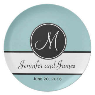 Blue Black Monogram Wedding Keepsake Plate